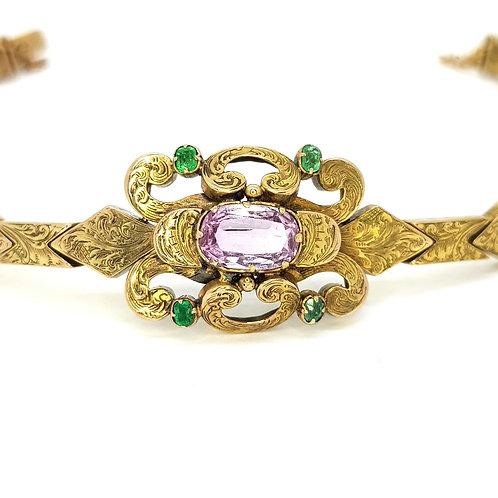 Victorian pink topaz and emerald 15ct bracelet.