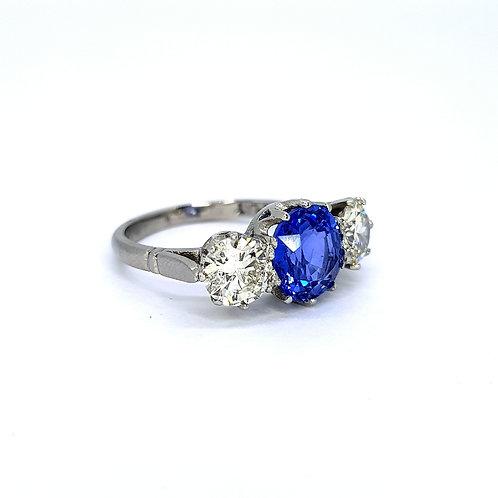 Sapphire and diamond platinum three stone S2.60CTS D1.50CTS