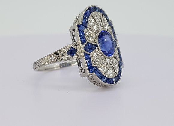 Sapphire and diamond deco style ring s0.75cts tdw1.19cts