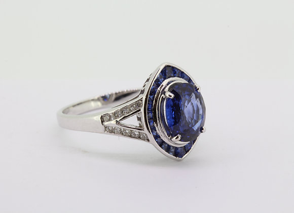 Navette sapphire and diamond ring.