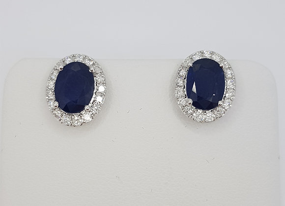 Sapphire and diamond cluster earrings s2.97cts d0.46cts