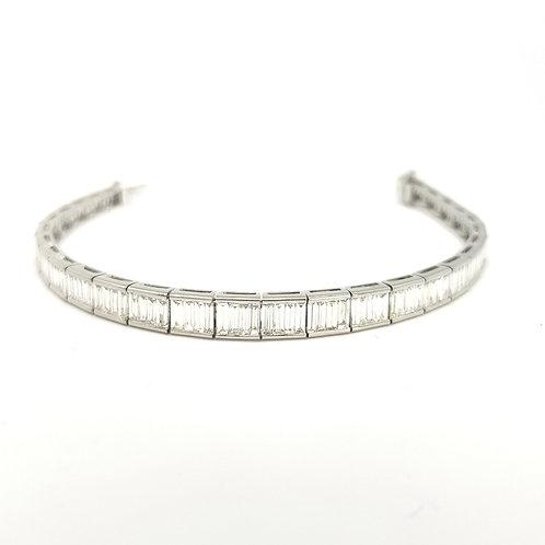 18cm platinum baguette diamond line bracelet 6.52cts