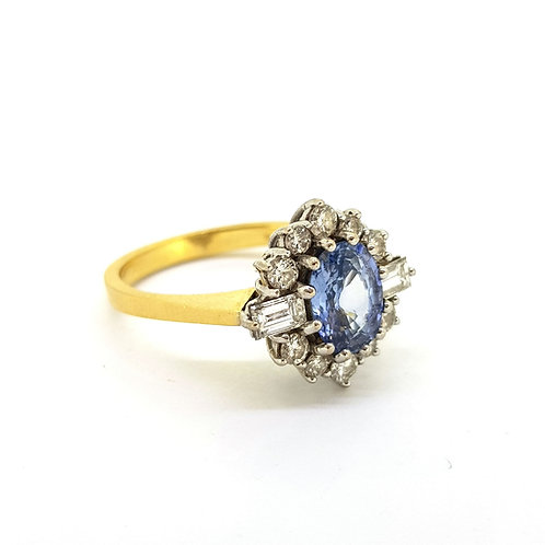 Vintage Sapphire and diamond cluster ring 1988