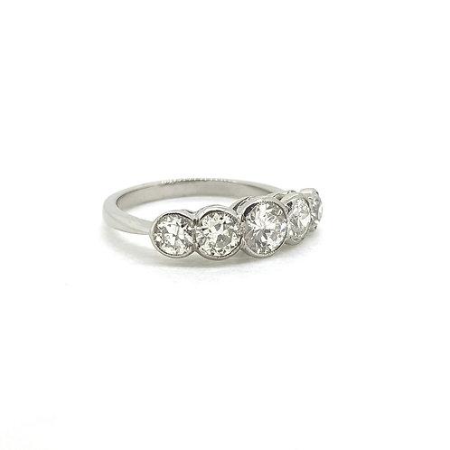 Platinum five stone diamond ring D1.50Cts