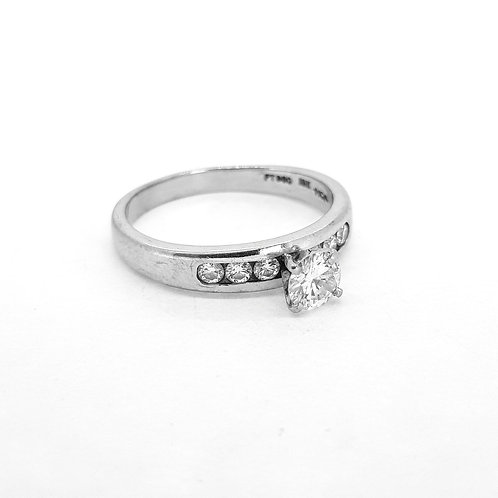 Platinum and diamond channel set ring .45cts x.25cts