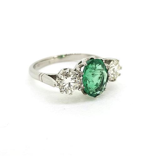 Emerald and diamond three stone ring E1.80Cts D1.05Cts platinum
