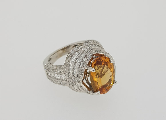 Brazilian  topaz and diamond ring