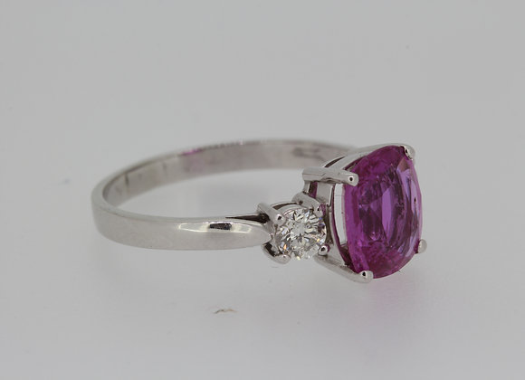 Pink sapphire and diamond ring sapphire 2.40cts 40pts of diamonds set in platinu