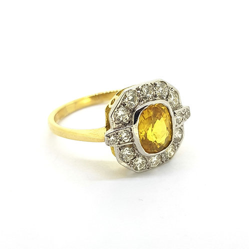 Yellow Sapphire and diamond cluster ring YS1.50Cts D0.55Cts