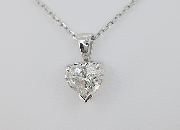 Heart diamond pendant and chain 1.04cts