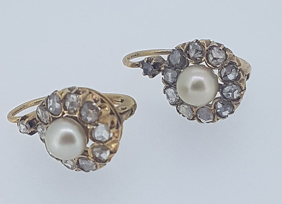Victorian Rose diamond and natural pearl earrings..