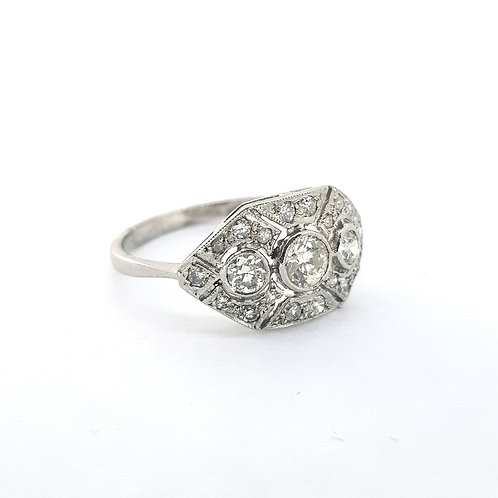 Deco style platinum cluster ring 0.75Cts