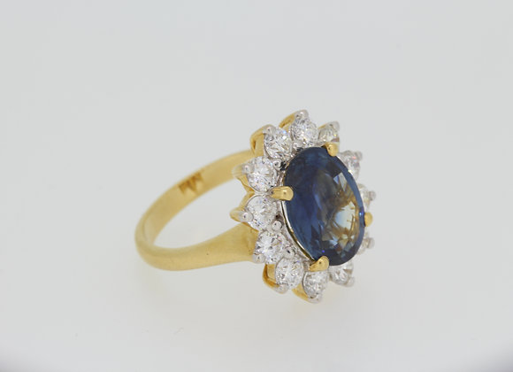 Sapphire and diamond cluster ring S5.10cts D1.70cts
