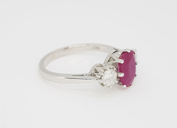 Ruby and diamond three stone ring r1.50cts d0.50cts
