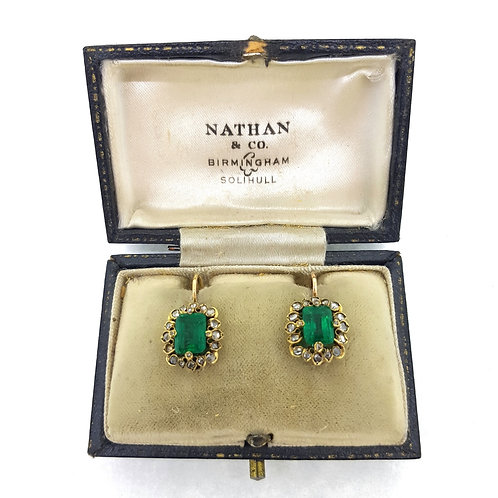 Antique natural Columbian Emerald and Diamond earrings.