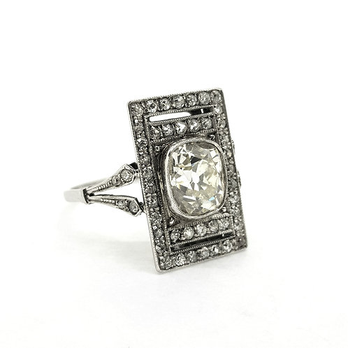 Old cut diamond tablet ring D2.35Cts