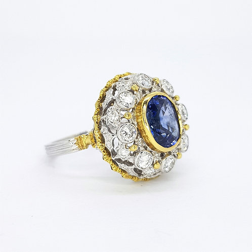 Sapphire and diamond cluster ring est.  S2.0CTS D1.0CTS