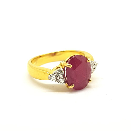 Ruby and diamond cluster ring R3.50Cts D0.40Cts