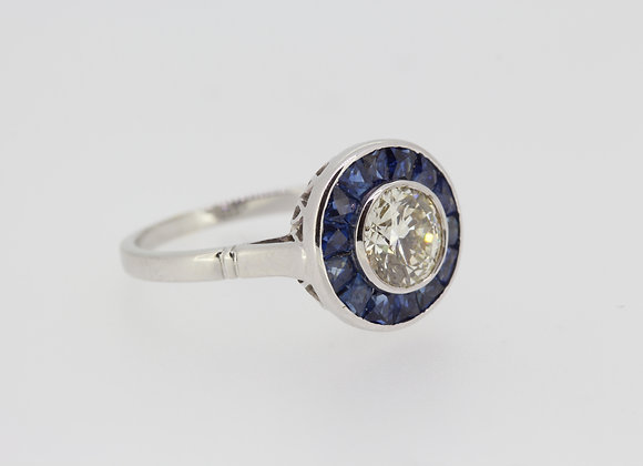 Pave set sapphire and diamond ring d1.21cts