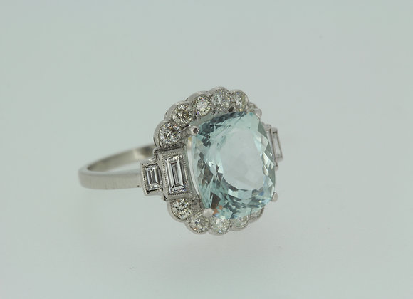 Aquamarine and diamond cluster ring a4.5cts d.70cts platinum