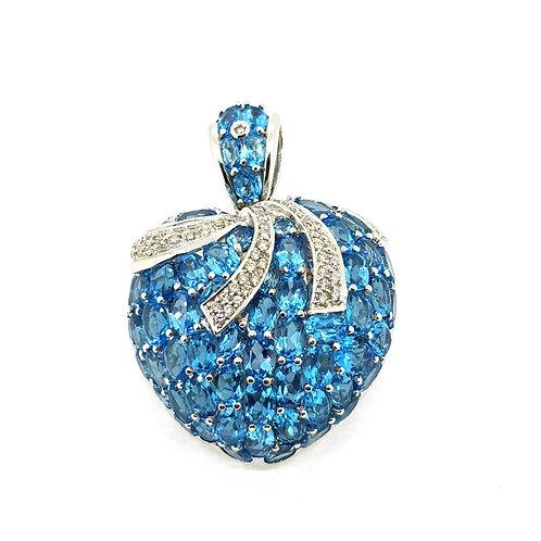 Blue Topaz and diamond heart pendant