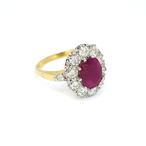 Ruby and diamond cluster ring R2.30CTS D1.35CTS