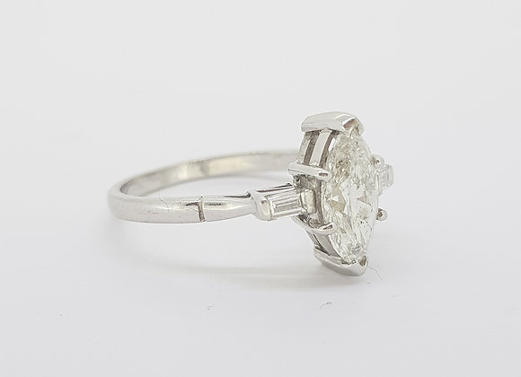 Marquis shaped diamond ring.