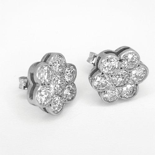 Daisy cluster diamond earrings 2.25cts