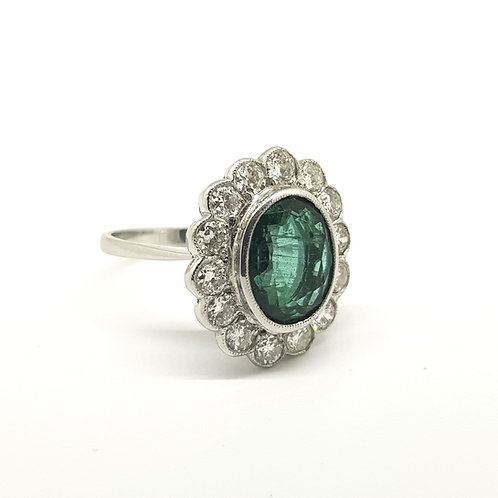 Emerald and diamond cluster ring Em3.50CtsD1 25Cts