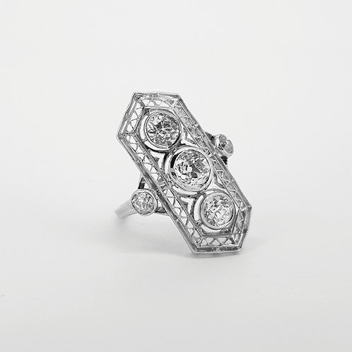 Belle Epoque three stone diamond ring est.1.50Cts platinum