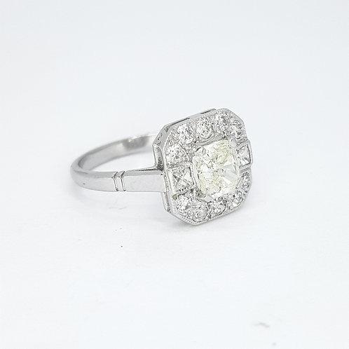 Radiant cut diamond cluster ring CS1.03CTS X0.80CTS