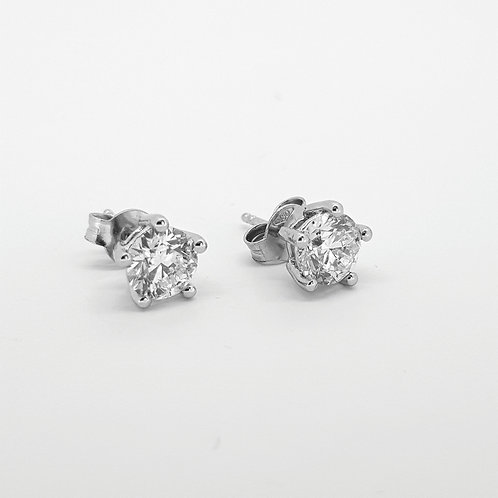 Five claw studs 1.80cts G/Hcolour Si2