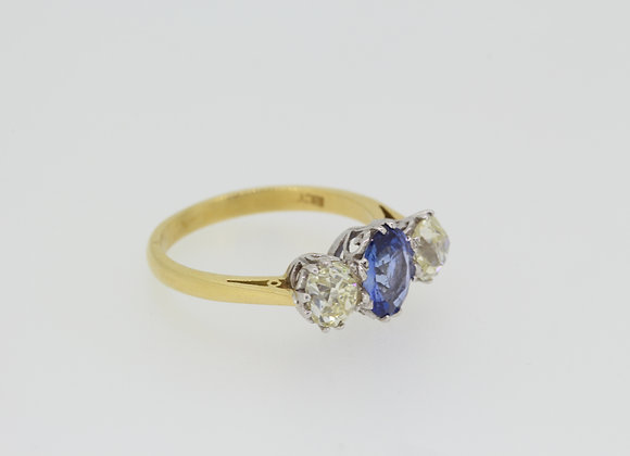 Sapphire and diamond trilogy ring.