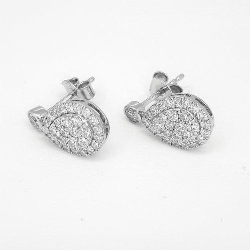 Pear shaped diamond drop earrings TDW 0.93CTS