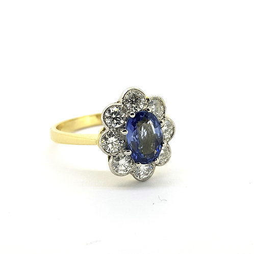 Platinum and sapphire diamond cluster ring S1.20Cts D0.90Cts