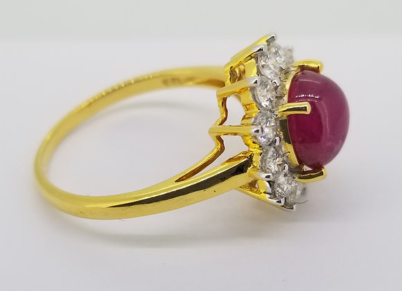 Burma ruby and diamond cluster ring