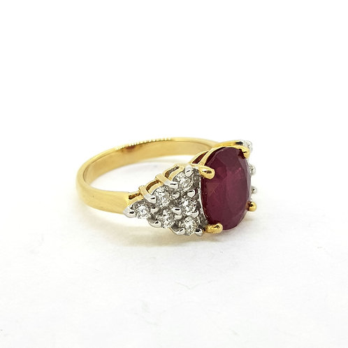 Ruby and diamond cluster ring R3.69Cts D0.60Cts