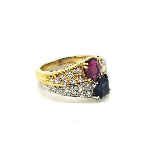 Sapphire and ruby diamond ring two colour gold