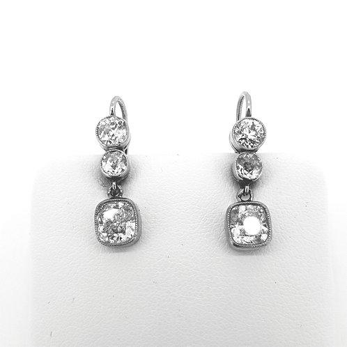 Cushion cut diamond drop earrings TDW 3.26cts