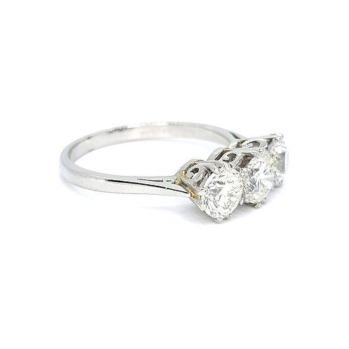 Diamond three stone D1.51CTS G COL SI2 Platinum