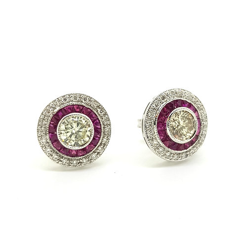 Ruby and diamond target earrings Centre 0.60Cts