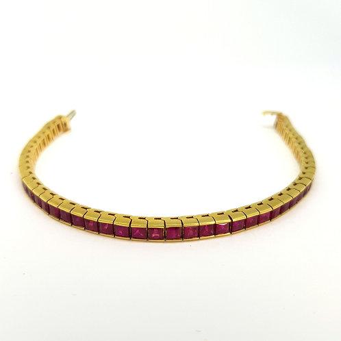 French cut Ruby bracelet, 14ct gold