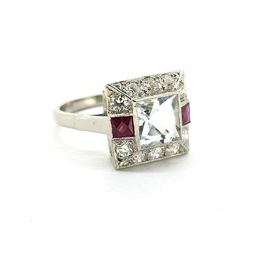 Aquamarine Ruby and diamond cluster ring platinum AQ1.30Cts D0.60Cts
