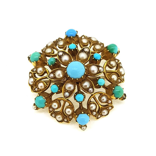 Turquoise and pearl 15ct brooch pendant