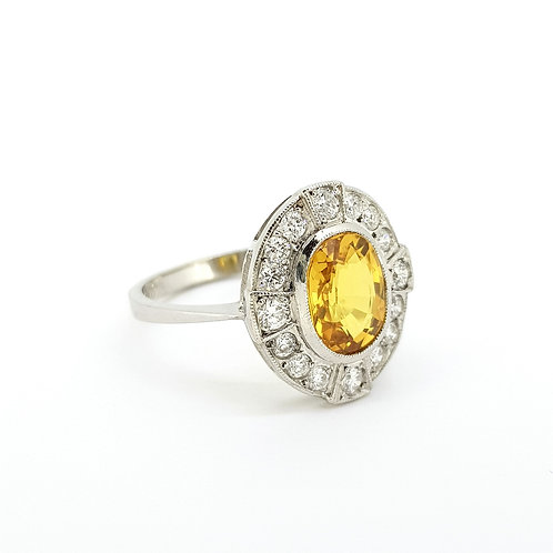 Yellow sapphire and diamond cluster ring YS2.60CTS D0.40CTS