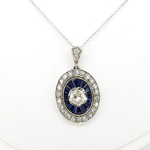 Sapphire and diamond pavet set pendant on a diamond chain CD0.75CTS EST.