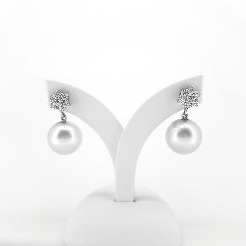 Southsea pearl and diamond cluster earrings