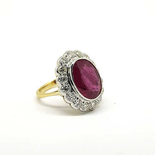 Ruby and diamond cluster ring R7.03Cts D1 35Cts