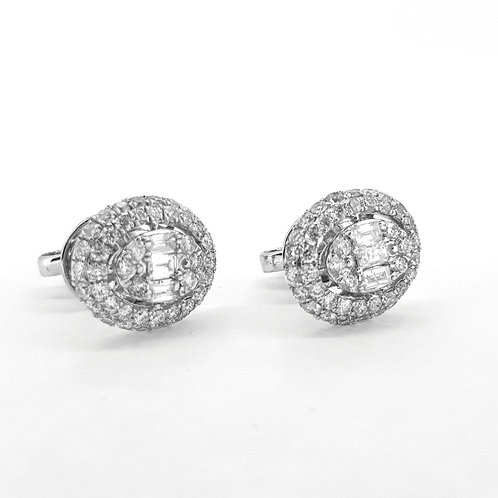 18ct diamond cluster earrings D1.35Cts
