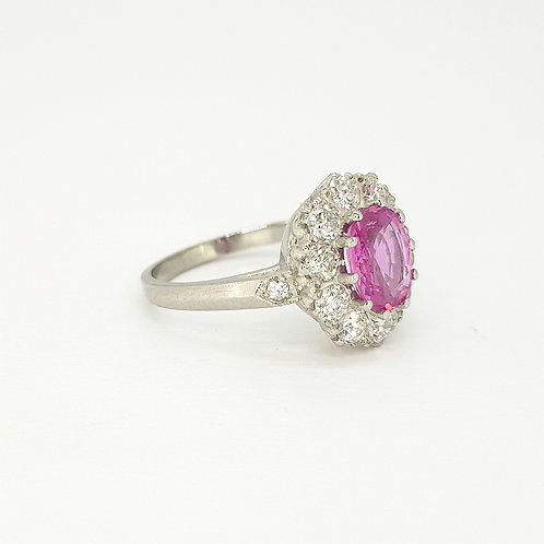 Pink sapphire and diamond ring set in Platinum PS1.40CTS D1.0CTSS